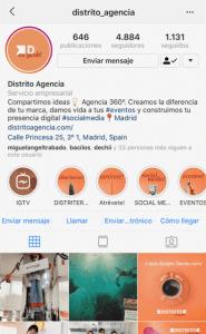 consejos optimizar instagram distrito agencia