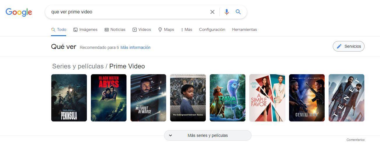 recomendaciones de google de series y películas