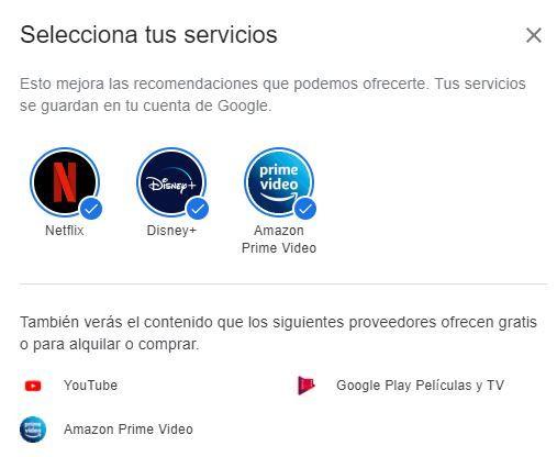 Selector de plataformas de streaming en google