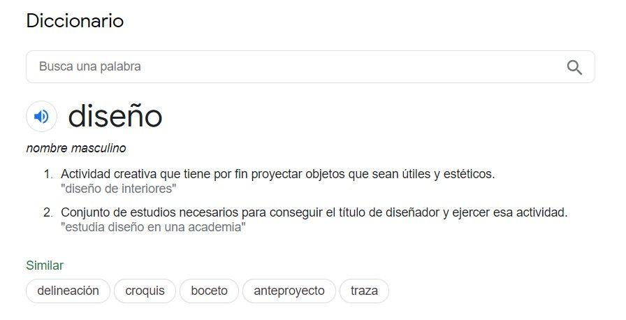 definición de una palabra en google