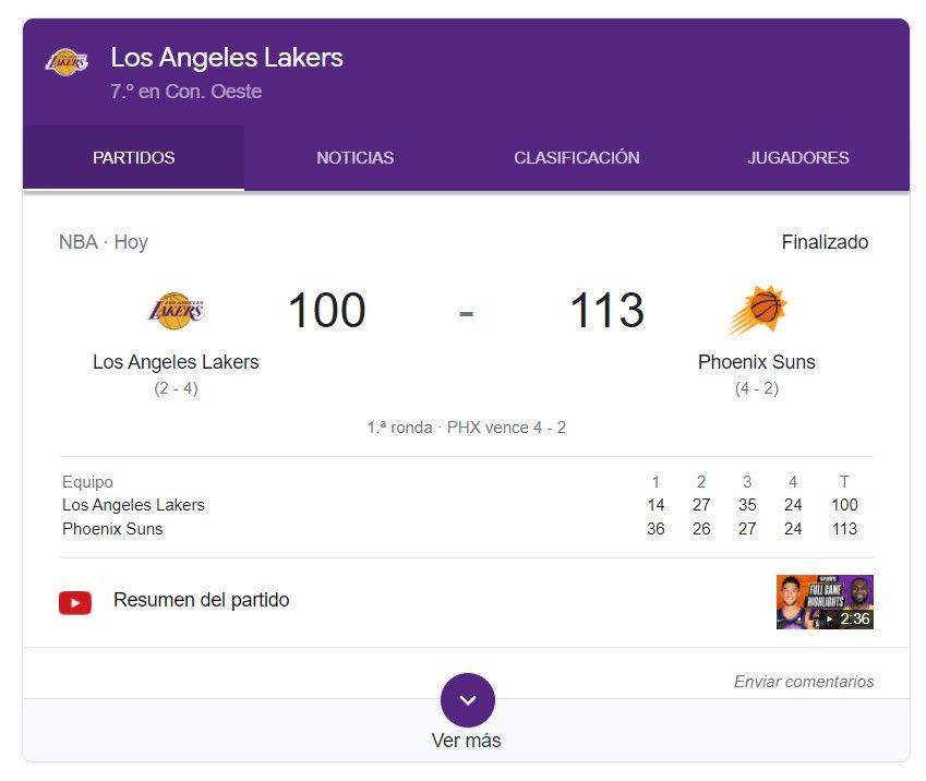 información de equipo deportivo en google